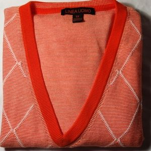 Linea Uomo Orange & White V Neck Knit Vest